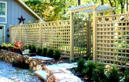 "4"" Square Lattice Fence Panels with Circle Toppers and Pergola"