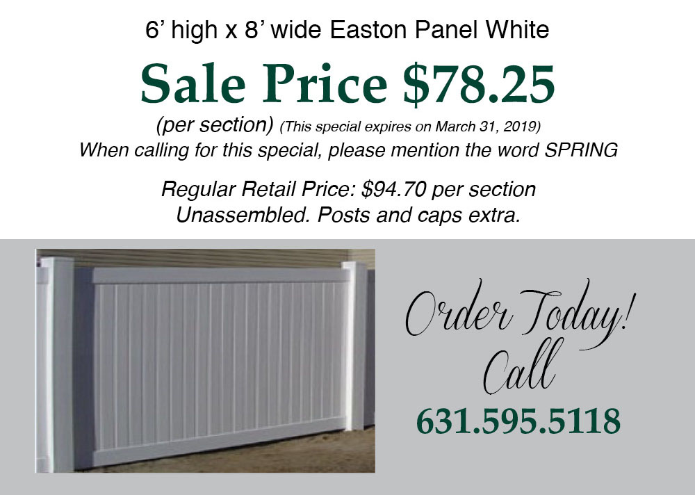 Easton Panel White Sale