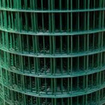 WELDED WIRE YARD GUARD FENCE GREEN VINYL COATED 1″ x 1″, 4' HIGH x 50' 16ga
