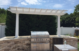 Custom Cellular PVC Pergola with Round Posts