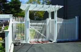 Louisville Scalloped Fence & Gate with Lattice Pergola